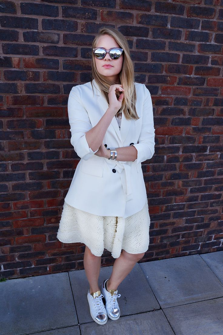 All white everything in my Zara blazer, H&M feather midi skirt, Reiss floral top, and Adidas Stan Smith trainers | comme des filles
