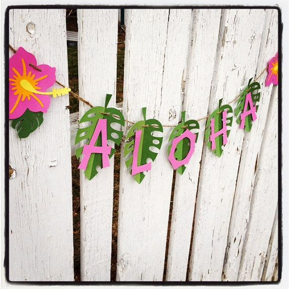 ALOHA Luau Party Banner Pink hibiscus green ready to hang  | Etsy
