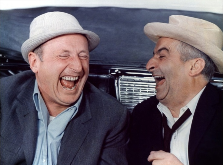 le corniaud avec Bourvil et Louis de Funes. Oh, how I loved seeing these two together in films when I was growing up. Laughed myself silly....