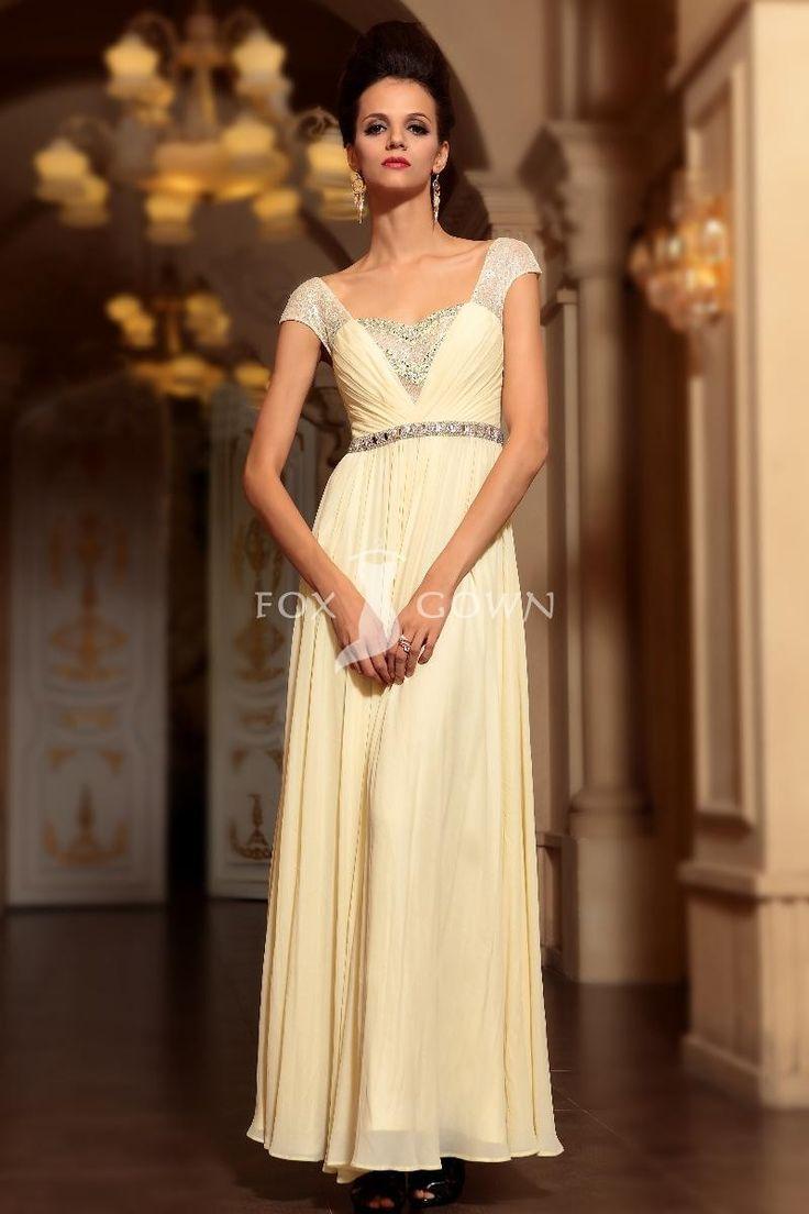 Licht gelb a-Line Stock Länge Empire Spitze Cap-Sleeve Pleated Perlen Sash Prom Kleid $243.47 formale Kleider