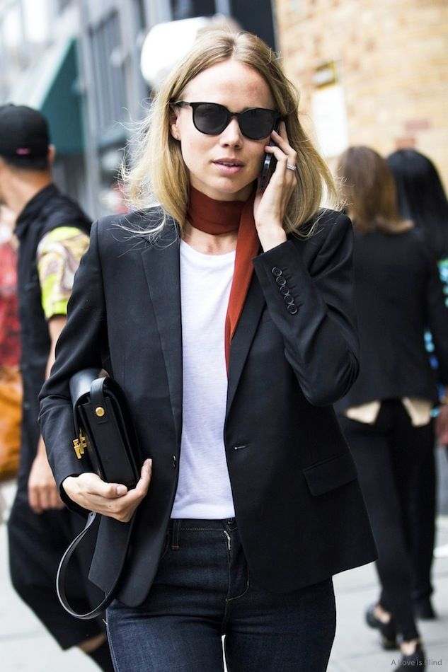 Le Fashion Blog New York City Street Style Elin Kling Red Silk Scarf Blazer Saint Laurent Bag Jeans A Love Is Blind Sandra Semburg photo Le-Fashion-Blog-New-York-City-Street-Style-Elin-Kling-Red-Silk-Scarf-Blazer-Saint-Laurent-Bag-Jeans-A-Love-Is-Blind-Sandra-Semburg-3.jpg