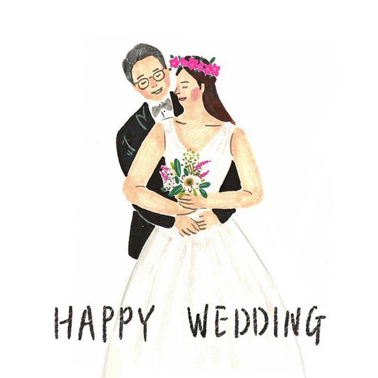 내일은 내친구 결혼하는날 행복할거야 #illust #illustration #イラスト #일러스트 #그림 #絵 #드로잉 #drawing #낙서 #doodle #웨딩일러스트 #결혼 #wedding #結婚