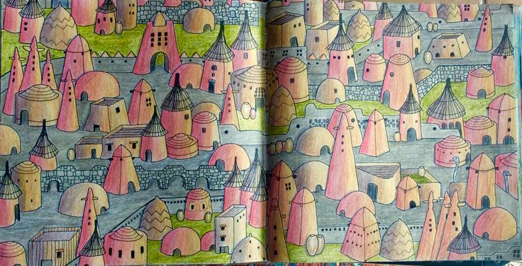 Dream Cities. An Adobe Village. Coloured by Prue.