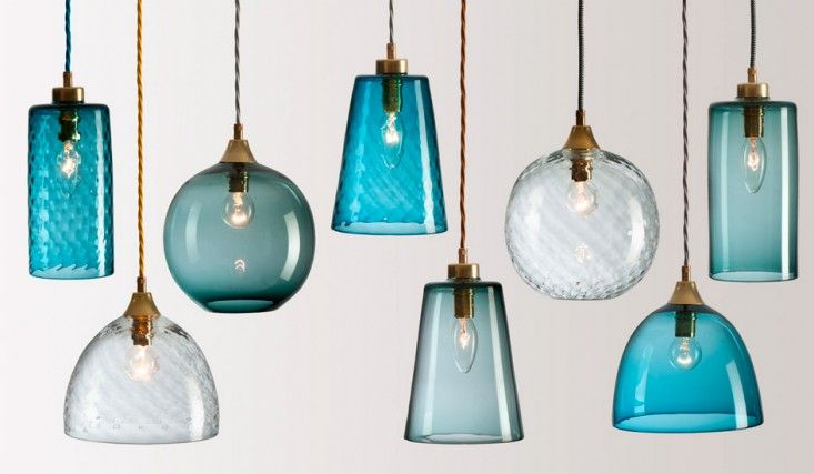 Rothschild & Bickers Pick-n-Mix Colored Glass Pendants, Blue and White, Hertford, UK | Remodelista