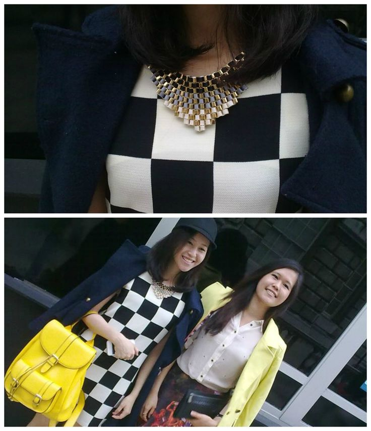 The lady on the left was the main focus of this. Despite her wearing an outfit that channelled Louis Vuitton's S/S '13 collection (checkered dress and yellow coloured bag) the detailing on her neckline was the main focus. Statement jewellery often makes an impact on an area of an outfit and this is no different #louisvuitton #statementjewellery #fashion