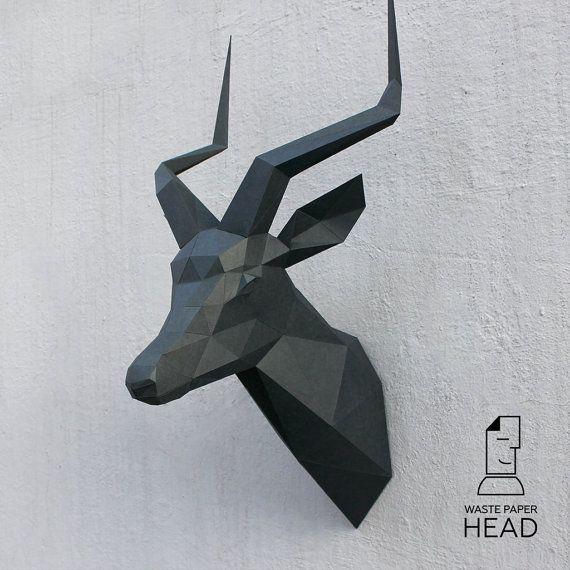 Papercraft impala head  printable DIY template by WastePaperHead