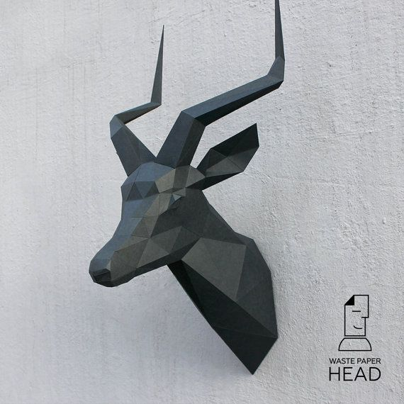 Papercraft impala head  printable DIY template by WastePaperHead