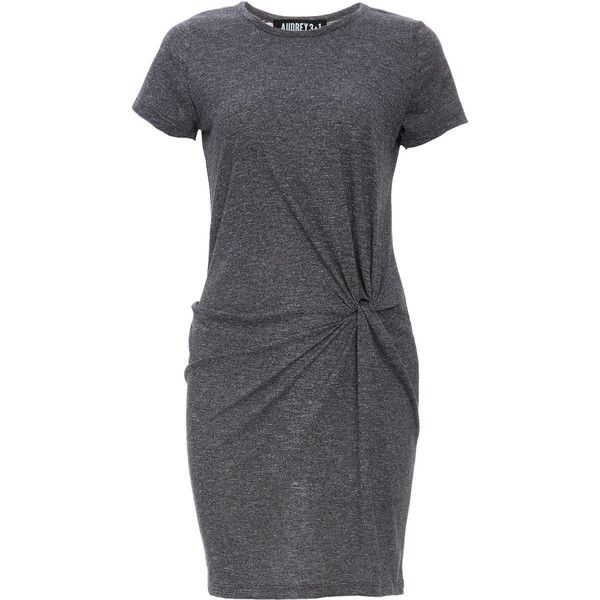 Front Knot Jersey T-Shirt Dress ($68) ❤ liked on Polyvore featuring dresses, grey, tee dress, gray dress, jersey t shirt dress, audrey 3 1 dress and jersey dress