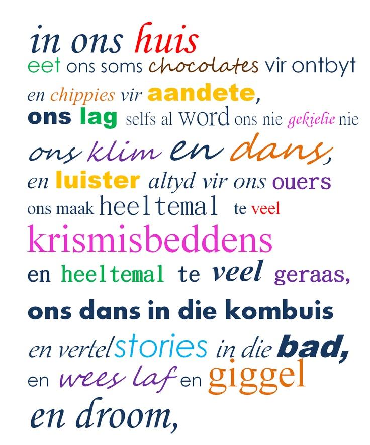 Afrikaanse quotes: house rules geraam in 'n mooi ou houtraam.