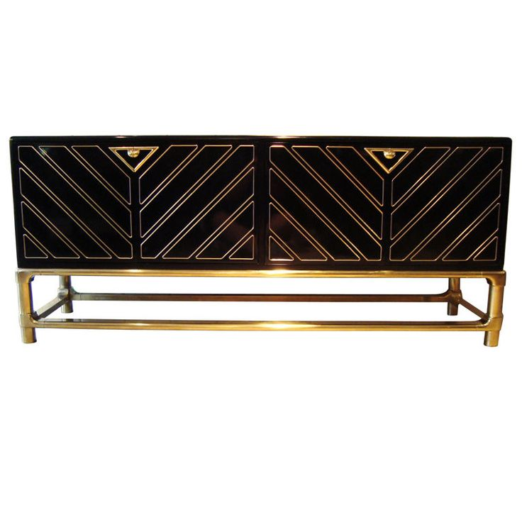 Sleek 1970's Black Lacquer and Brass Mastercraft Sideboard | From a unique colle…