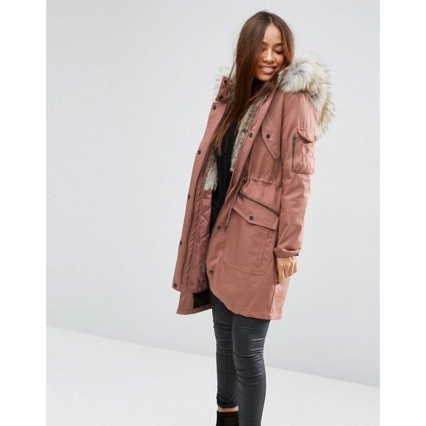 ASOS Parka With Detachable Faux Fur Liner ($125) ❤ liked on Polyvore featuring outerwear, coats, dustypink, fake fur coats, faux fur parka, asos, hooded parka and hooded coat