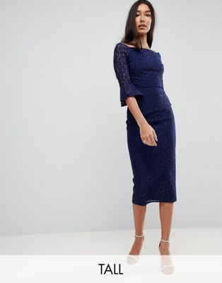 Little Mistress Tall All Over Lace Bardot Midi Dress With Fluted Sleeve Detail