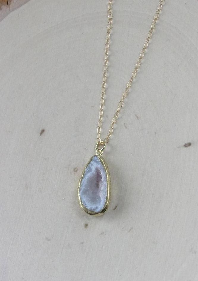 Geode Necklace on a Gold Filled Chain, Geode Jewelry, Geode Necklace, Geode Slice Pendant, Geode Slice, Geode Slice Necklace, Geode Crystal by MalieCreations on Etsy