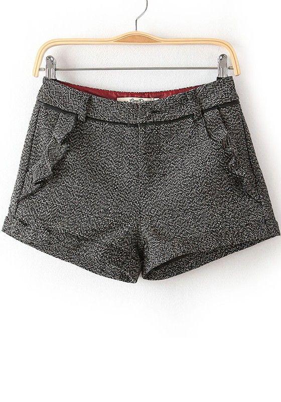 ++ Grey Plain Mid Waist Short Cotton Blend Pants