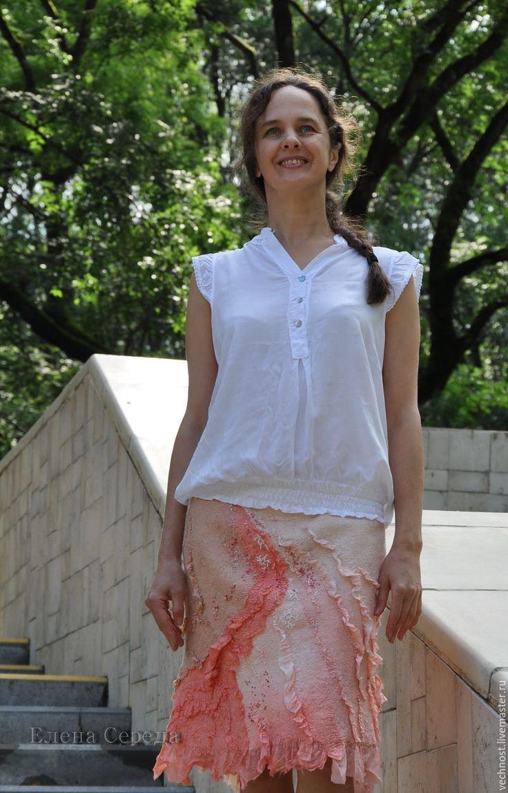 """Купить Шёлковая, валяная юбка """" Розовые кораллы"""" - кремовый, шелковая юбка, юбка…"""
