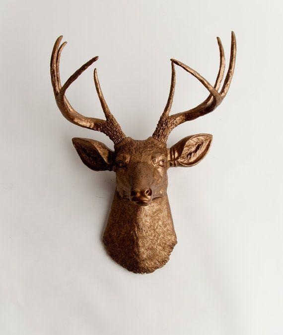 Faux deer head wall art in bronze the bennett bronze resin stag head resin bronze deer - Decorative stags head ...