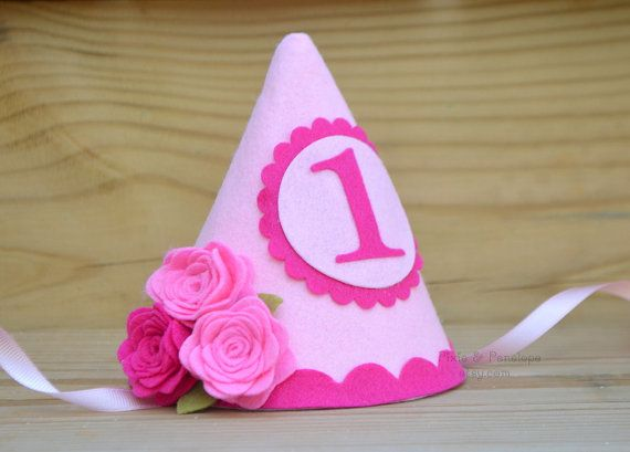 Felt Party Hat, Flower Party Hat, First Birthday, Pink, Smash Cake, Girl Birthday, Shabby Chic