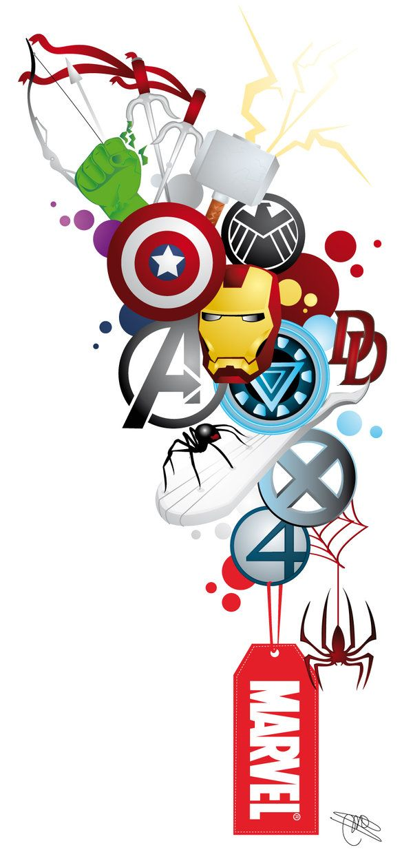 Andrew wants a sleeve of nothing but marvel characters! He would love this! Marvel : Tattoo Design 2.0 by *Mareve-Design on deviantART