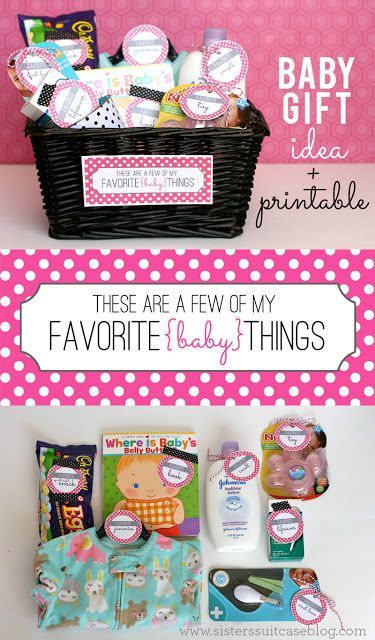 Give a New Mom all of your Favorite Things for Baby! Free printable tags from www.sisterssuitcaseblog.com #baby #gift #printable