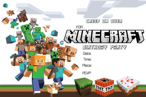 41 Printable Birthday Party Cards \ Invitations for Kids to Make - mine craft invitation template