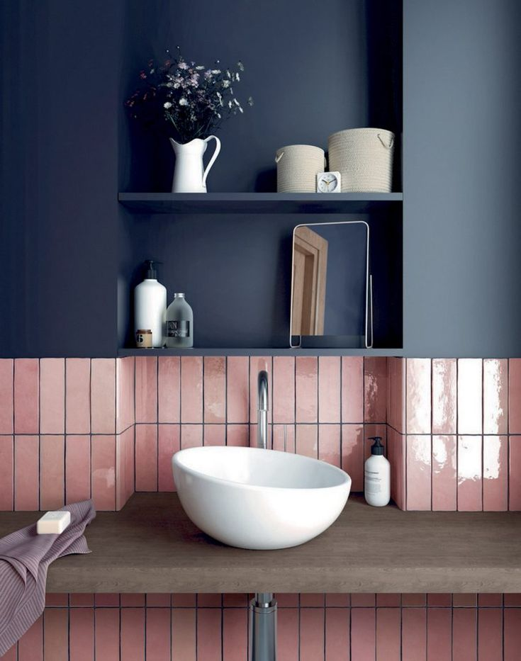 pink with navy :) | Bathroom trends, Trendy bathroom ...