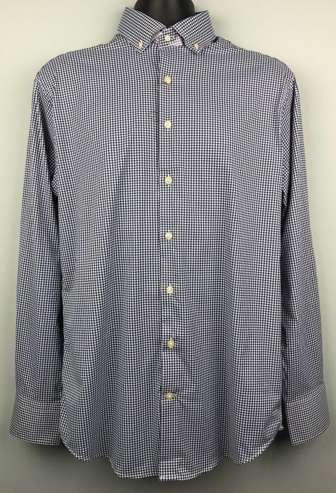 ab9fd8e0678 Peter Millar Blue White Performance Sport Shirt Size M Checked e4 Summer  Comfort