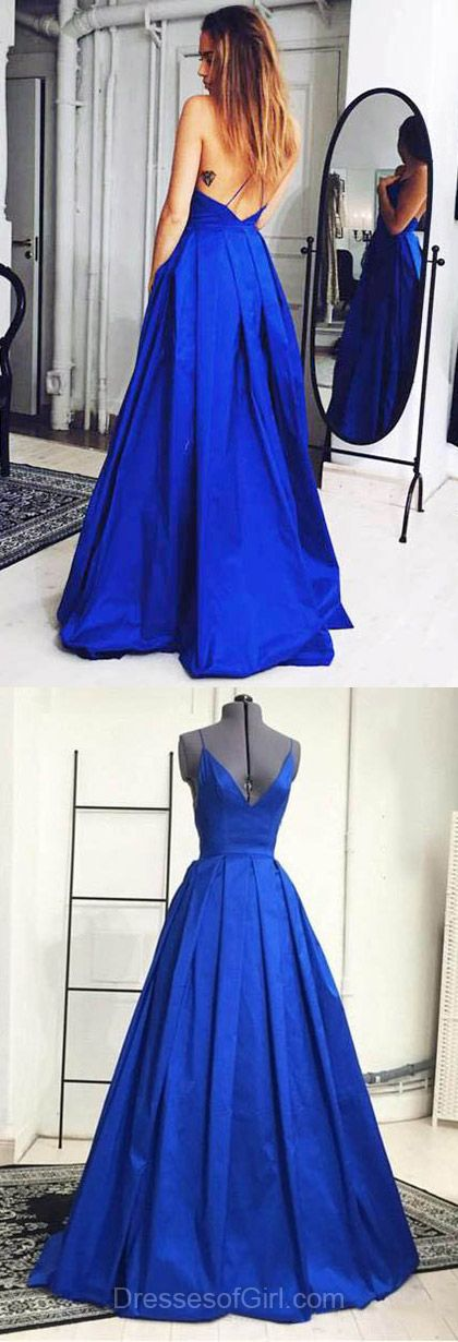 Sexy Prom Dress, Backless Prom Dresses, Royal Blue Evening Dresses, V Neck Party Dresses, Satin Formal Dresses