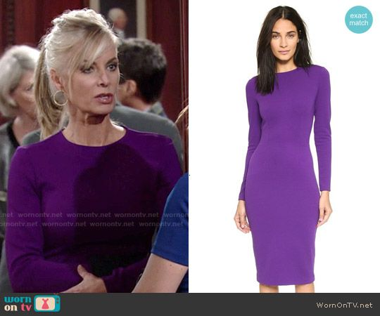 Ashley's purple long sleeved dress on The Young and the Restless.  Outfit Details: http://wornontv.net/53224/ #TheYoungandtheRestless