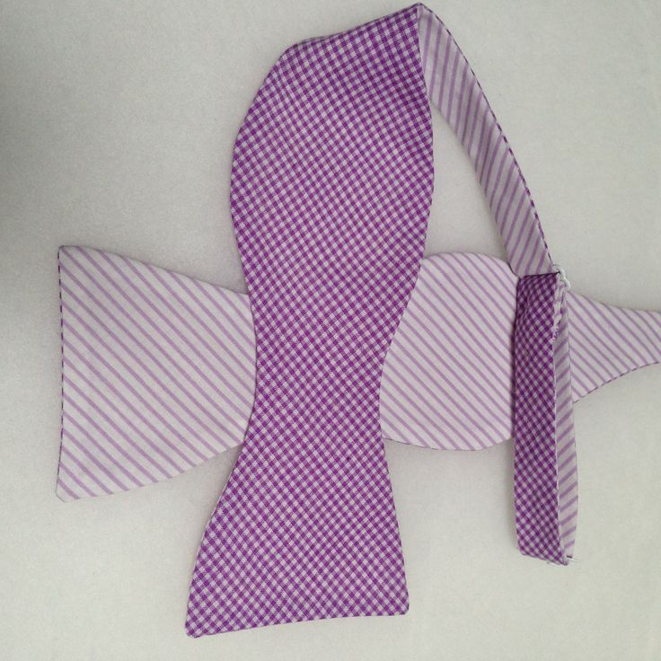Double Sided, Purple & White Bow Tie, (Self-Tie)