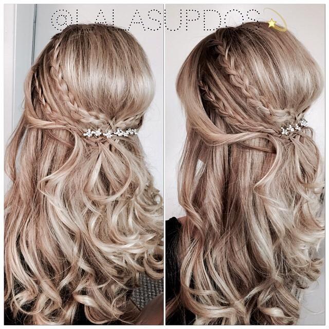 crown braids loose curls #lalasupdos