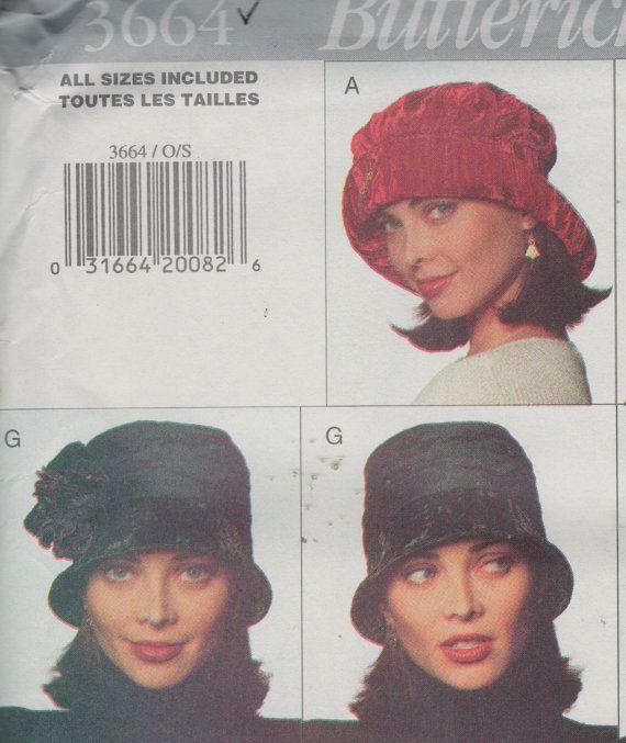 """Butterick 3664, Sz S-M/22-23 """".  Cloche, Beret, chapeau de trappeur Ear Flap Hat/fourrure, Mad Hatter chapeau Newsboy Cap, modèle Vintage des années 90 Hat/chapellerie"""