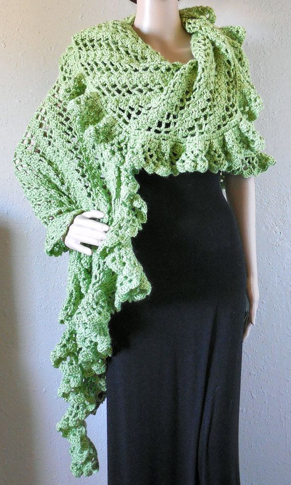 Green Asymmetric Shawl and Wrap With Ruffles by EntanglingDesigns