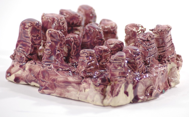 Terry Williams, Not titled (purple building) 2008 ceramic 6 x 15 x 14cm © Artist Represented by Arts Project Australia