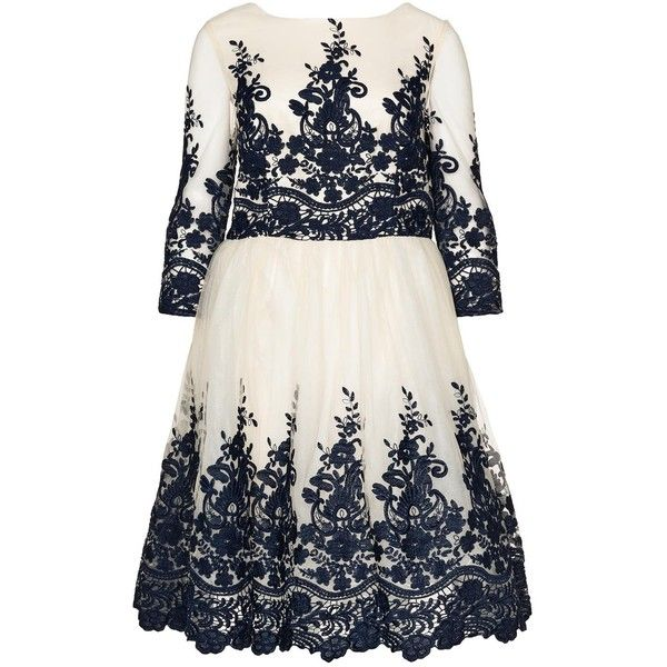 CHI CHI Curve Cream / Dark-Blue Plus Size Embroidered cocktail dress ($75) ❤ liked on Polyvore featuring dresses, plus size dresses, cream, plus size, white cocktail dresses, white see through dress, white skater skirt, knee length cocktail dresses and 3/4 sleeve cocktail dress