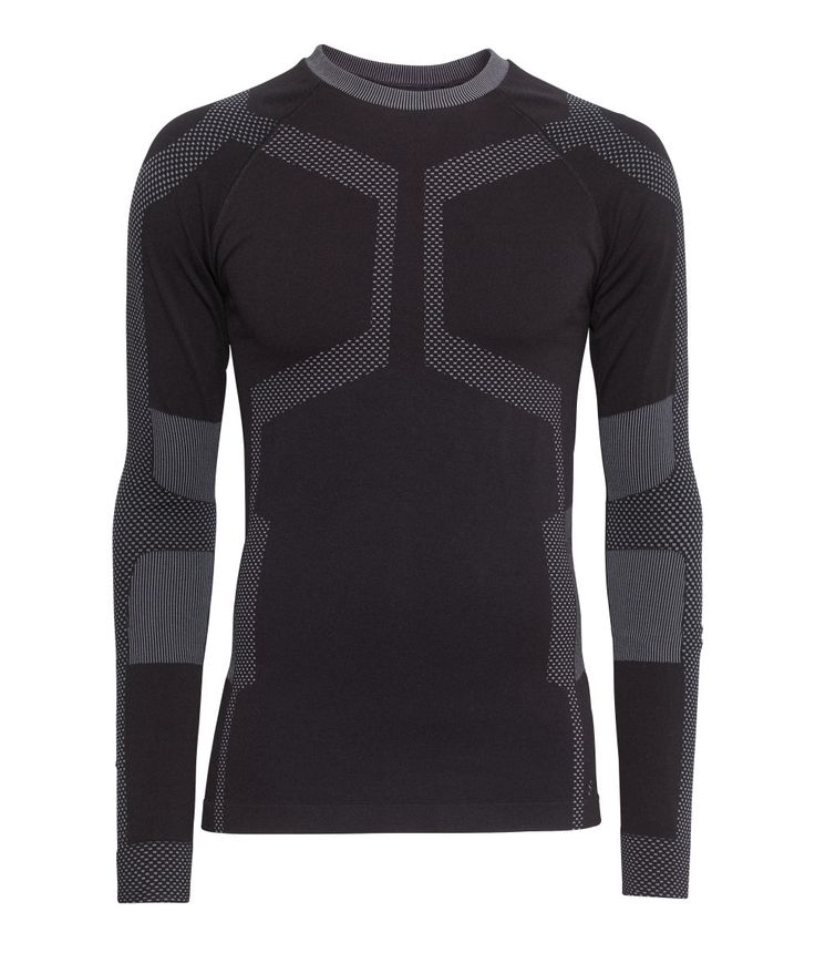Men's black base-layer shirt in fast-drying fabric with contrasting panels. | H&M Sport