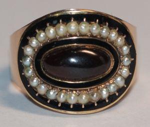 Georgian mourning ring. Dated, England 1802.