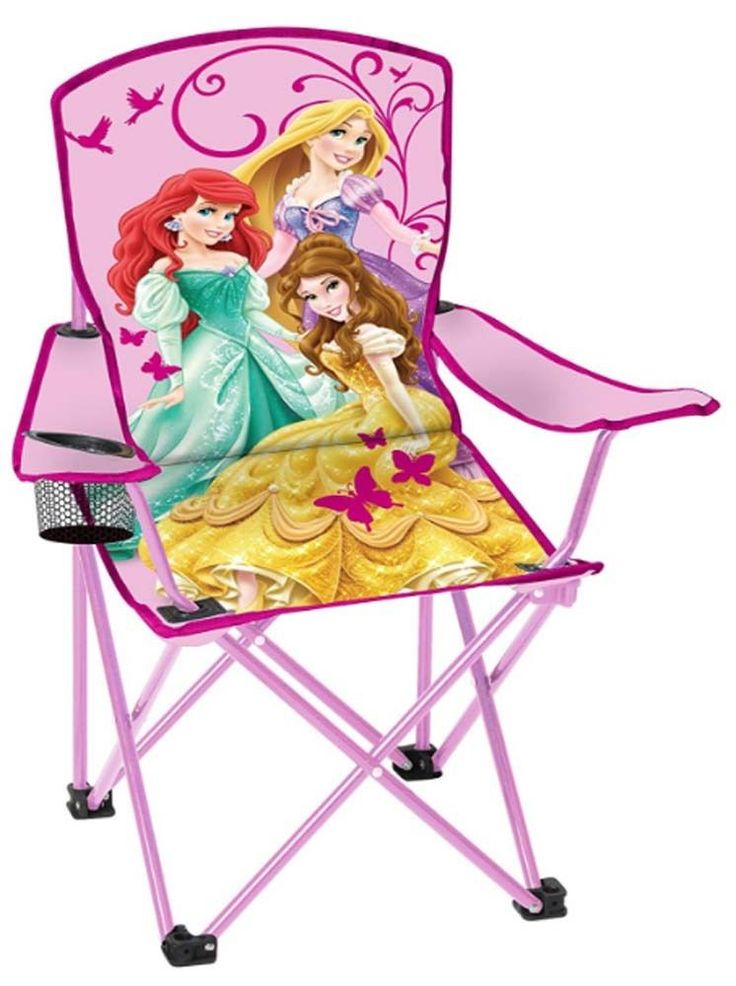 Kids Folding Chair With Cup Holder Disney Princess Toddler Outdoor Camping Seat #Disney