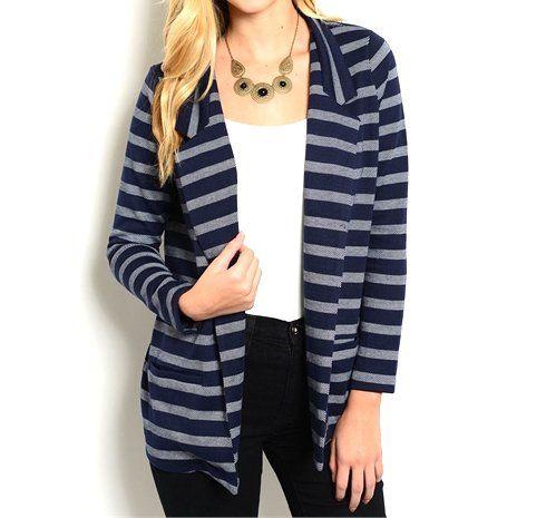 Stripe+Open+Front+Cardigan