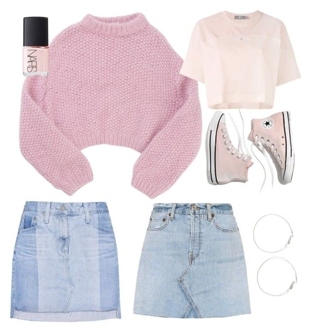 """""""Baby pink🌸"""" by beluuacevedo on Polyvore featuring Lala Berlin, RE/DONE, AG Adriano Goldschmied, Madewell, adidas and NARS Cosmetics"""