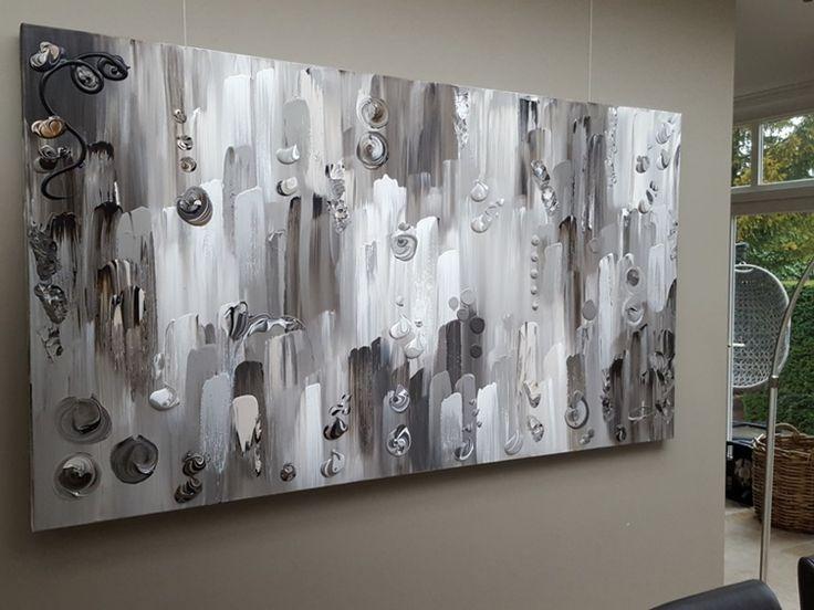 Karma - 220 x 120 x 4,5; groot abstract schilderij in vergrijsde taupe-tinten. Taupe / grijs rustiek doek XXL in natuurtinten met dikke verf en reliëf. Maatwerk mogelijk.