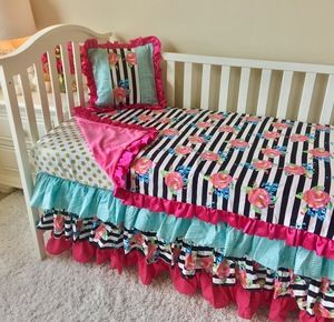 Hot Pink, Aqua, Gold Dot, and Watercolor Floral Stripe Toddler Bedding