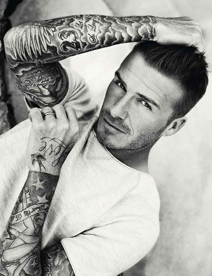 Tattoos arms of David Beckham