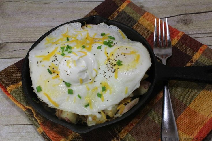 This Country Skillet Breakfast is the perfect way to use up leftovers from your Thanksgiving ham or turkey!