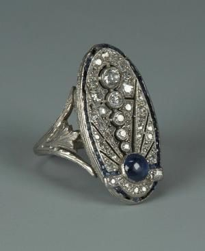 Art Deco 18k diamante e safira Anel by Divonsir Borges