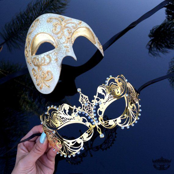 Clear Rhinestones His /& Her Couples Masquerade Mask Gold Themed Phantom Mask