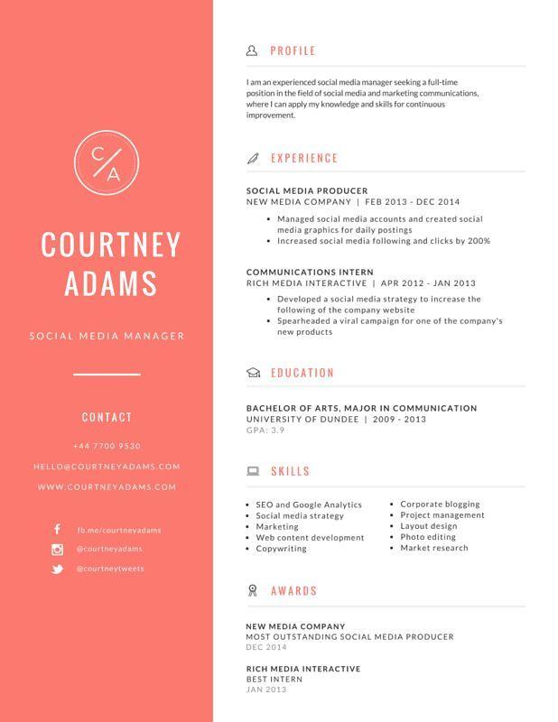 26 best CV images on Pinterest Design resume, Resume design and - user experience designer resume