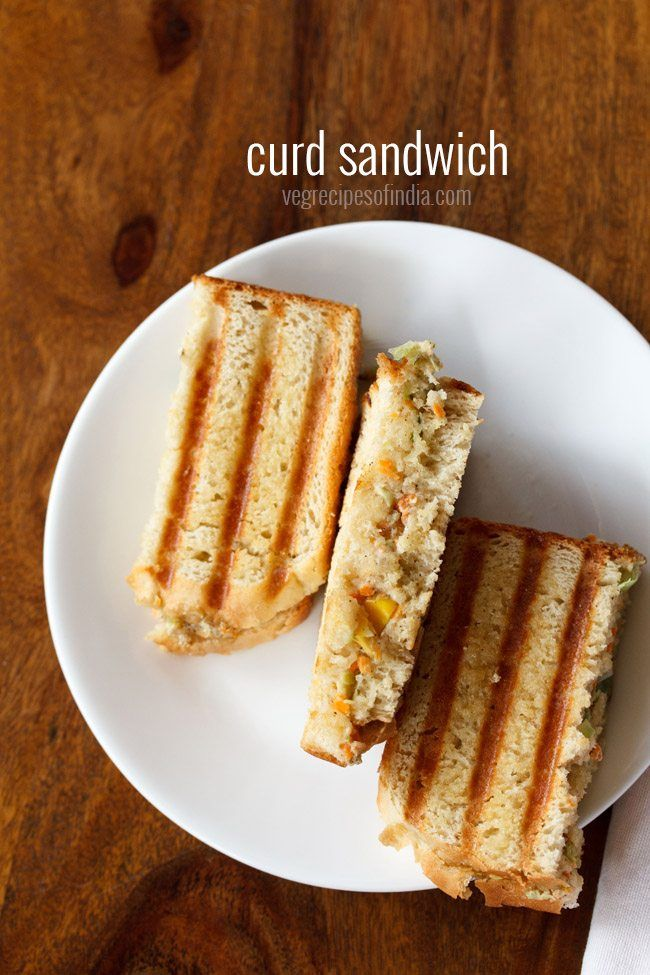 Curd sandwich recipe - Quick and easy sandwich recipe with a spiced veggie curd filling.  #sandwich
