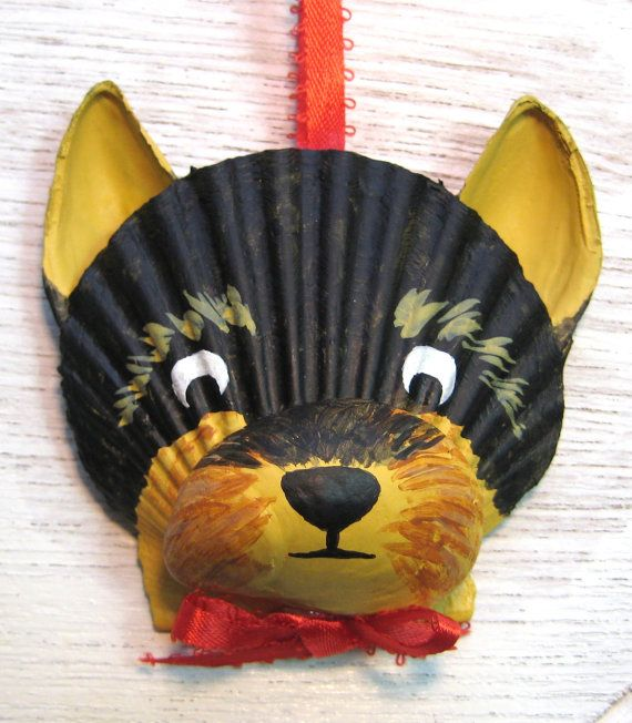 Yorkshire Terrier Yorkie Ornament. Seashell Yorkie by Lorishellart