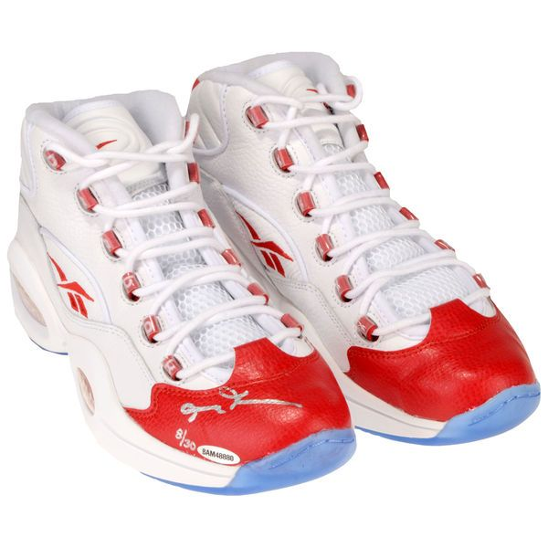 Allen Iverson Philadelphia 76ers Autographed White & Red Reebok Question Sneakers - Limited Edition of 30 - Upper Deck - $749.99