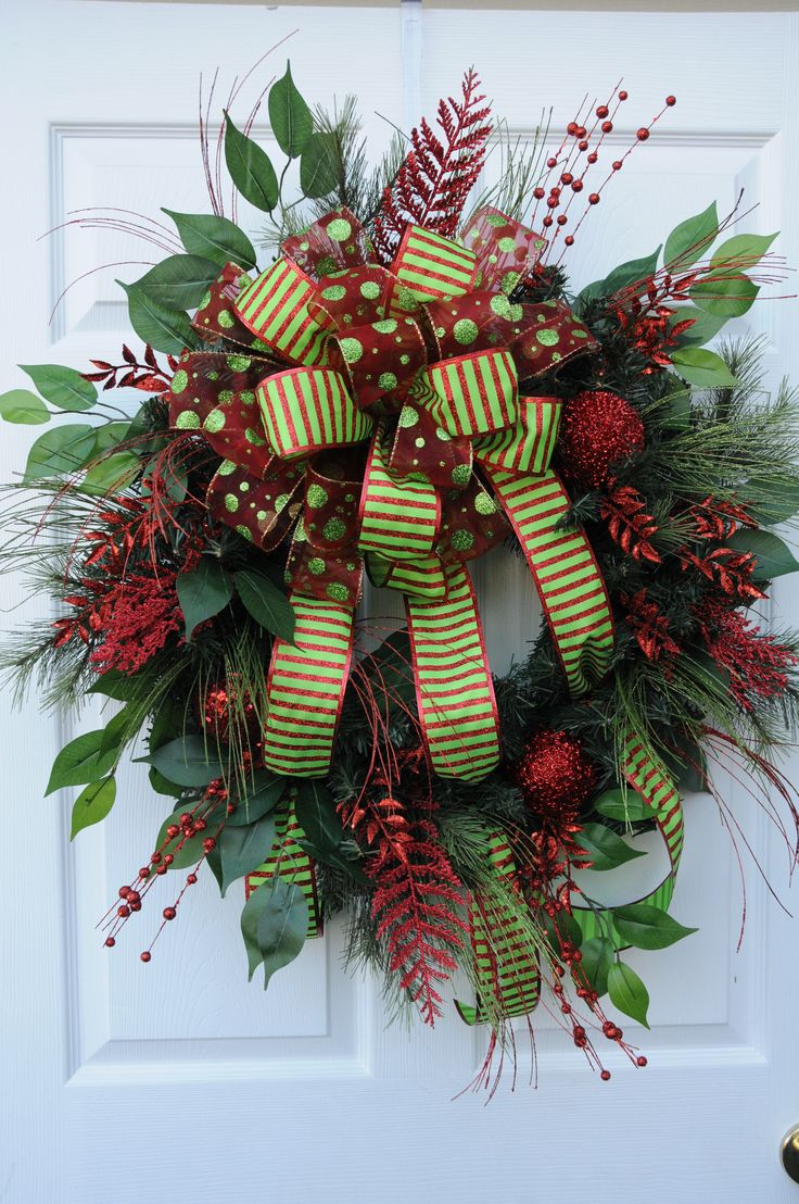 Red and Green Glitter Christmas Wreath by